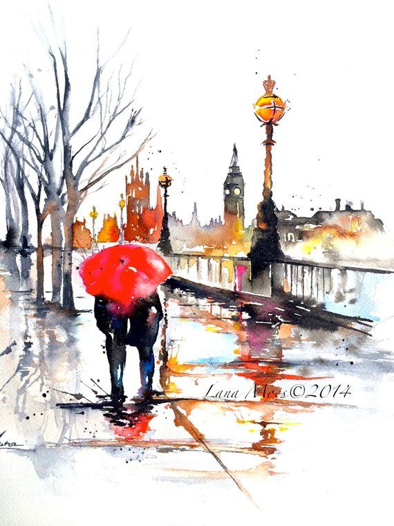 London reisen Aquarell - Druck von Original Aquarell Stadtbild Romantik - Lana-Kunst - Fernweh-Illustration