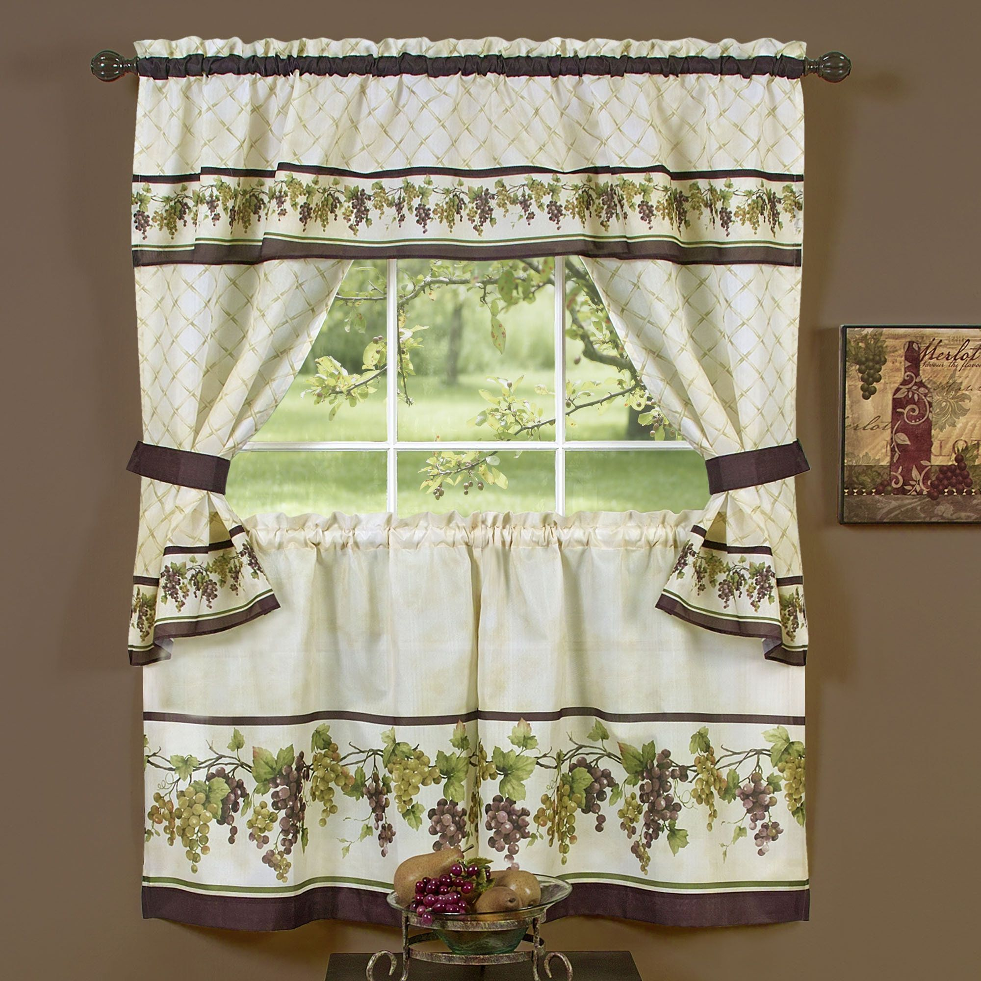 Kitchen Curtains With Grapes Patterned Painted Grapes Kitchen Sinks Photos Of The Canister