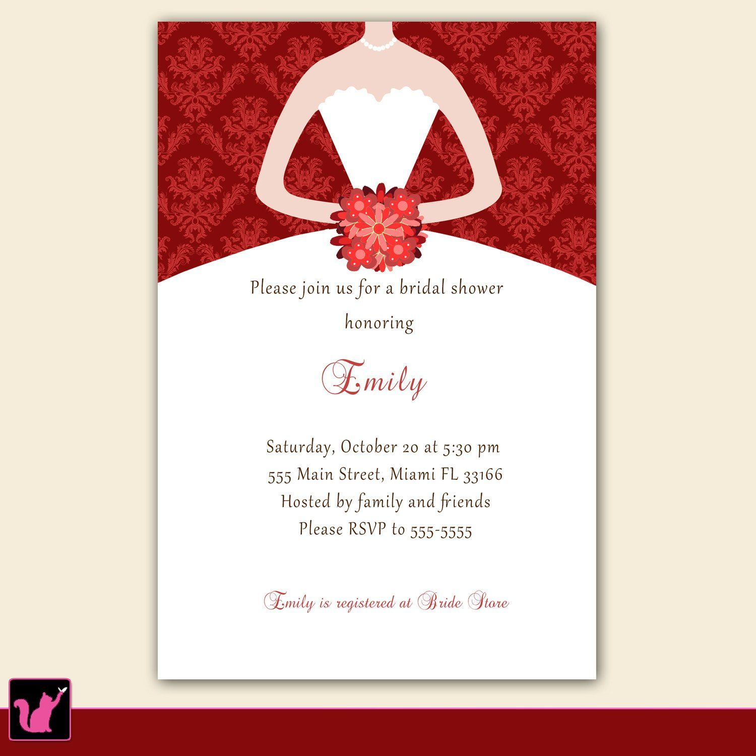 Dress Invitation Bridal Shower Sweet 16 Red Damask – Pink The Cat ...