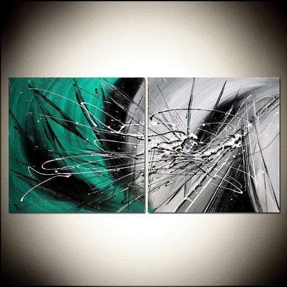 Teal Peinture Avec Noir Et Blanc Abstrait Art