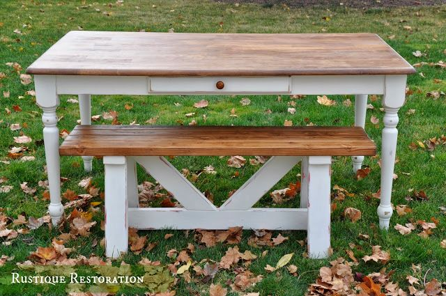Gorgeous Farmhouse Table and Custom Bench!  @Amber Cheatham-Owens Restoration