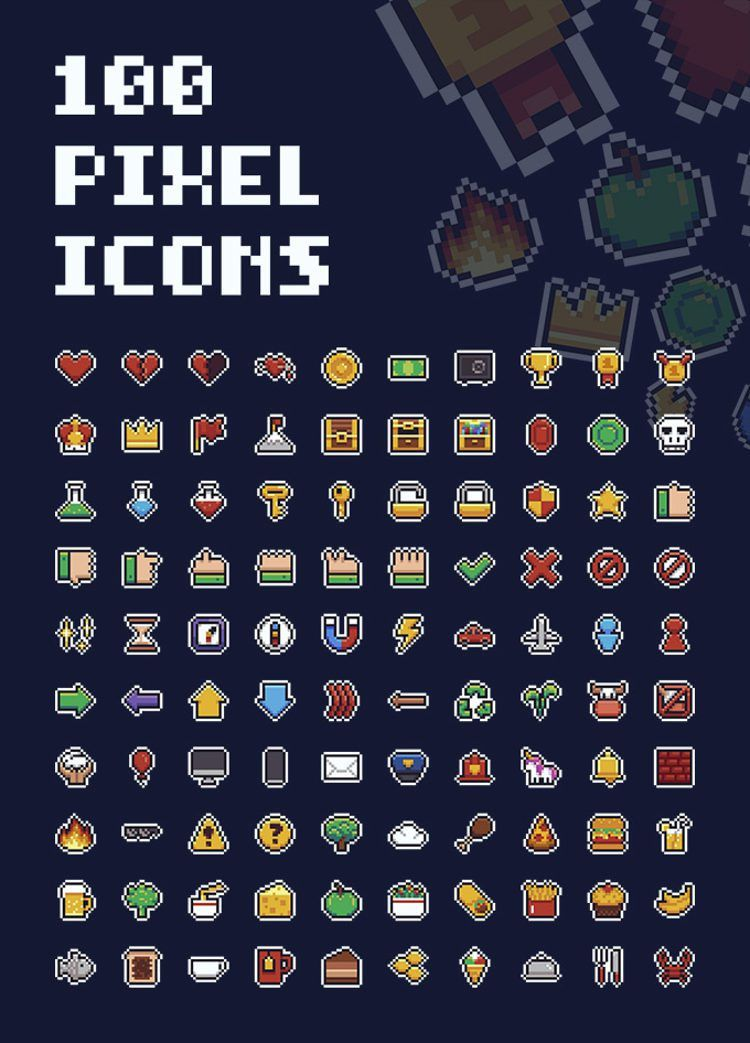 Free 100 Pixel Icons (AI, PNG, SVG) | Pixel art games, Pixel ...