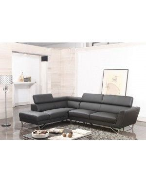 Tosh Furniture Ff F735 Modern Black Leather Sectional Sofa With