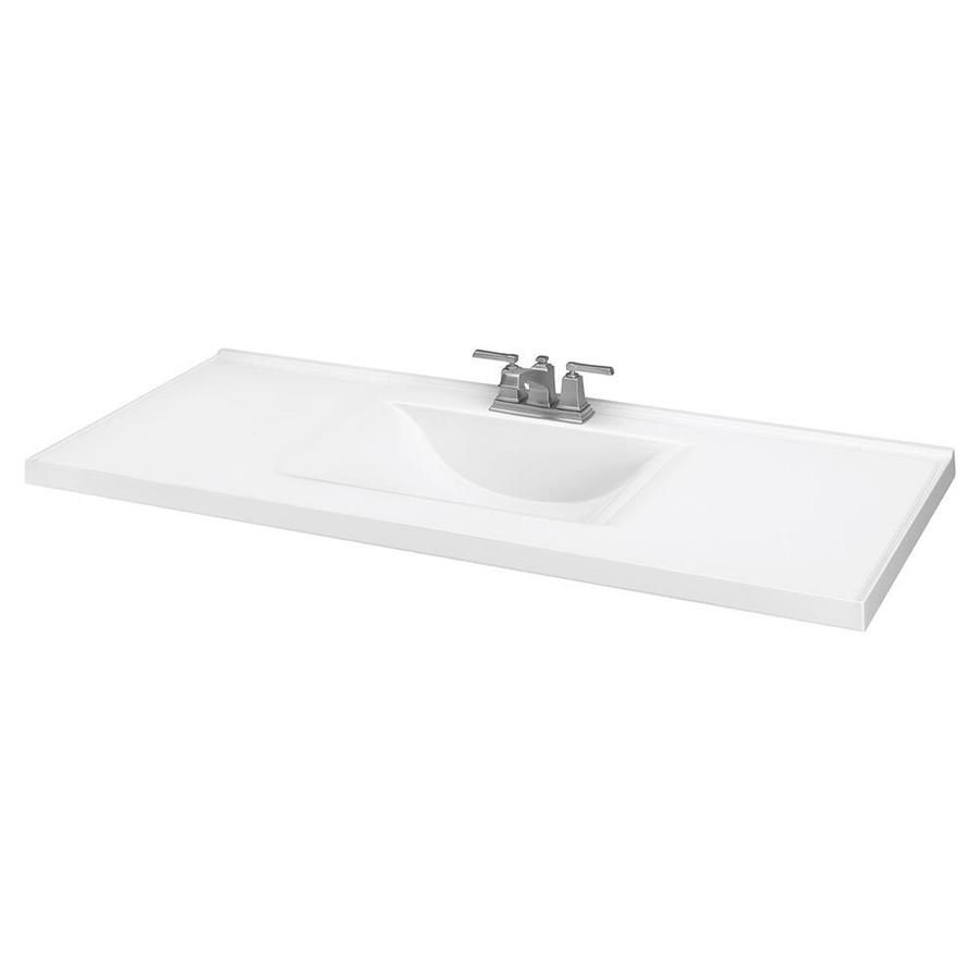 49 In White Cultured Marble Single Sink Bathroom Vanity Top Lowes Com Marble Bathroom Vanity Bathroom Vanity Tops Single Sink Bathroom Vanity