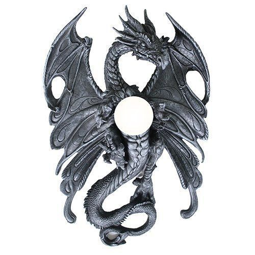 Superb Large Home Decor Wall Mounted Dragon Lamp In Faux Stone Finish Made Of  Polyresin