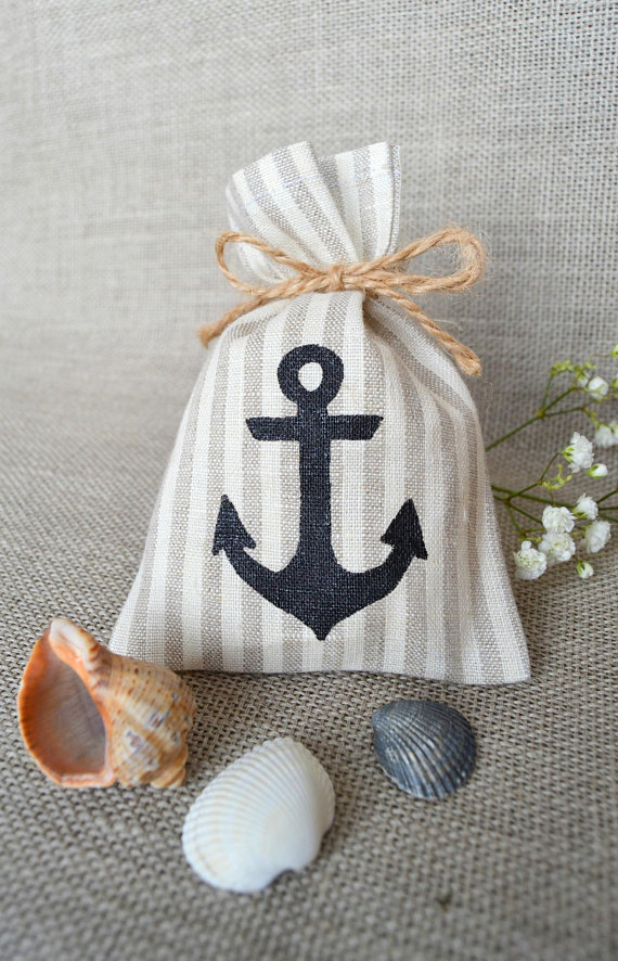 Gift Bags Sea Small Burlap Baby Shower Birthday Cloth Wholesale Linen Anchor