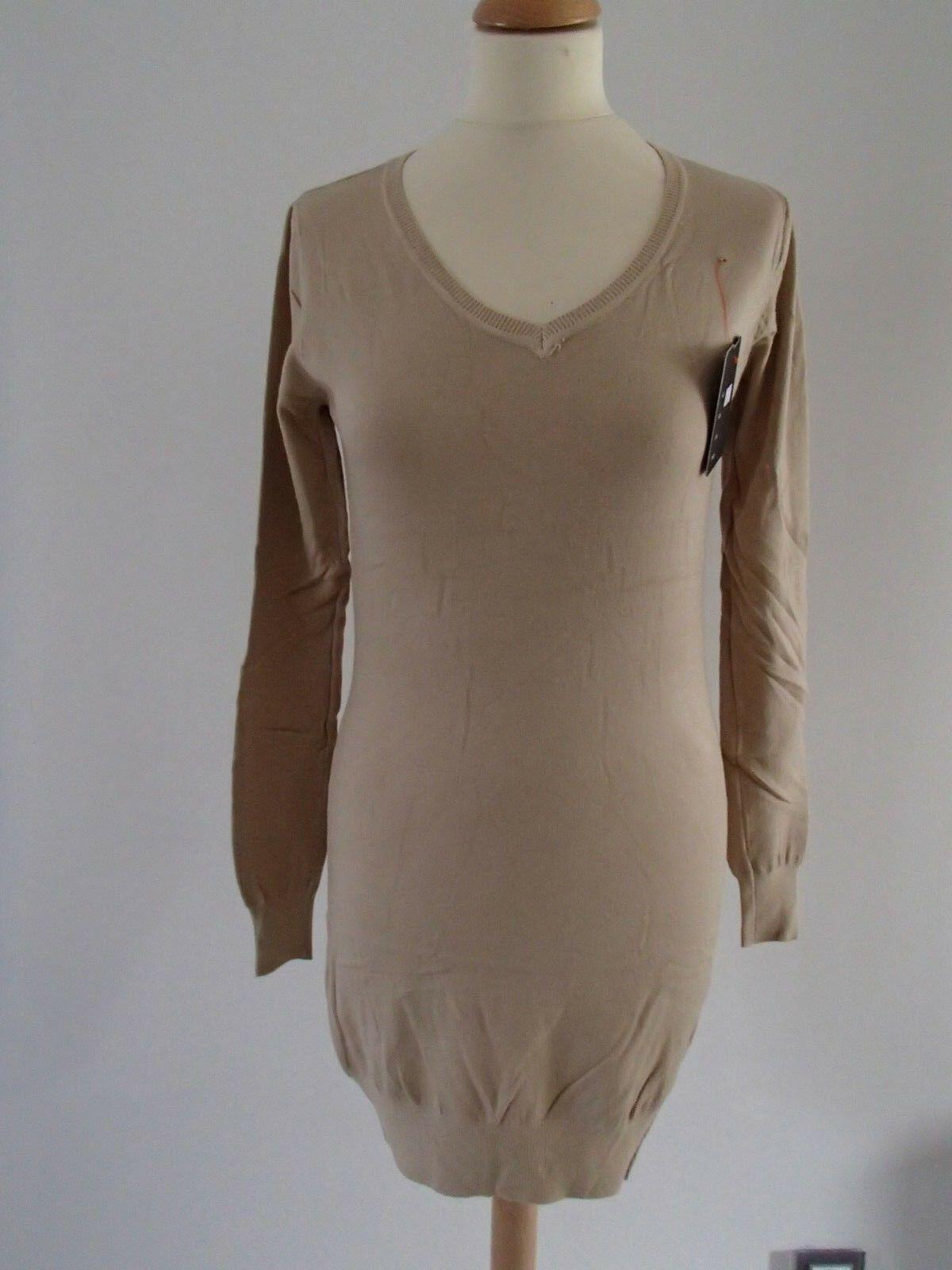 Robe pull manche courte laine cachemire D1106 marron sable 36//38//40 ladydjou