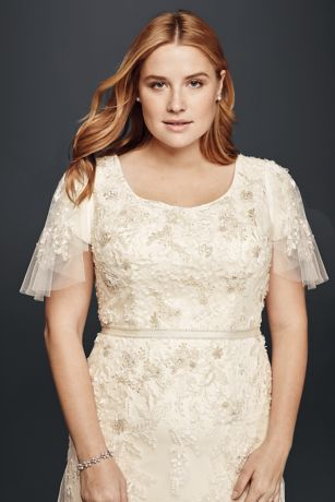 Plus Size Modest Wedding Dress with Floral Lace Style 8SLMS251111 ...