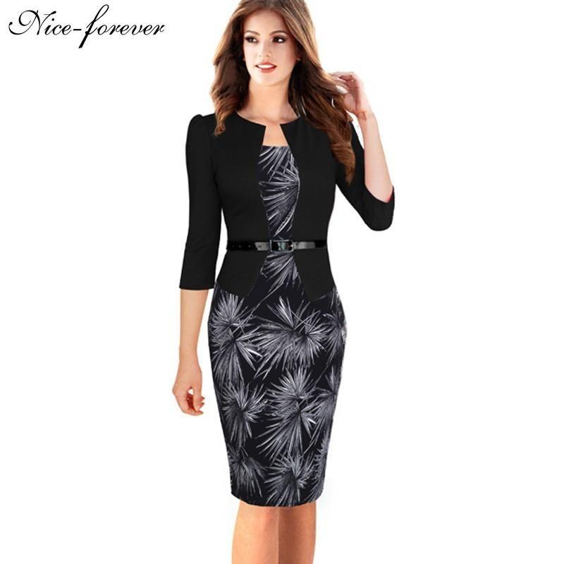 f95eba405106 Gender: Women Waistline: Natural Decoration: None Sleeve Style: Regular  Pattern Type: Geometric Style: Work Brand Name: NICE-FOREVER Material:  Cotton ...