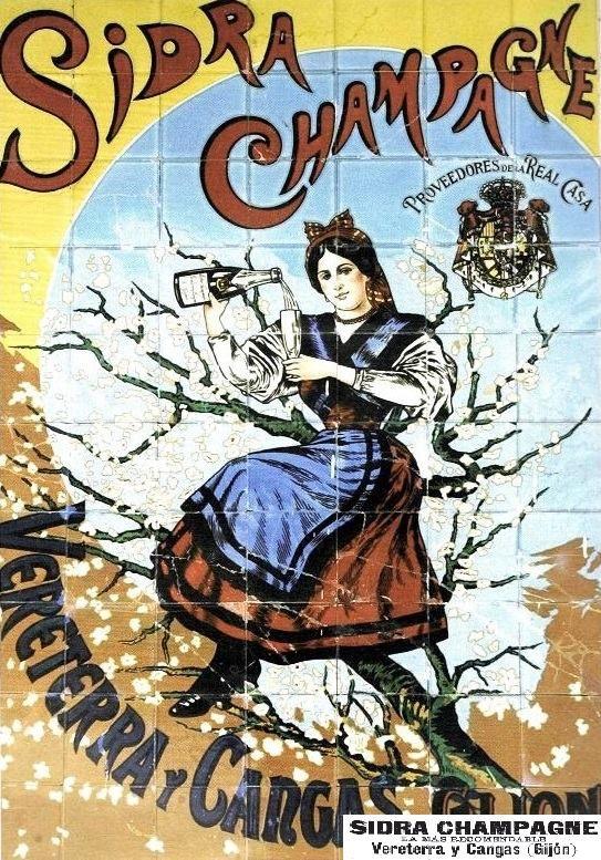 Mural pulicitario de la sidra champagne VERETERRA Y CANGAS, de Gijón, empresa fundada por Luis Vereterra y Cangas a finales del siglo XIX