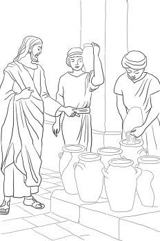 Turning Water Into Wine Coloring Bible Jesus Cccpinehurstcm Source Supercoloring Pages