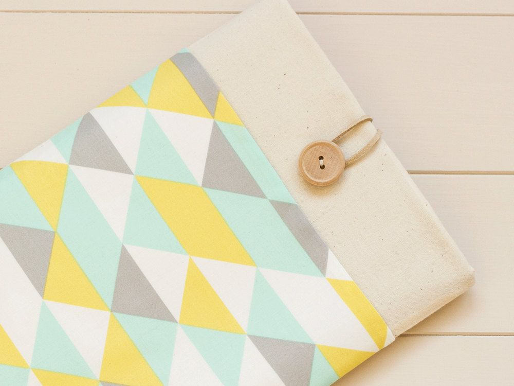 Macbook 15 inch case, Laptop case, Macbook Pro Retina, Laptop sleeve /  Aqua triangles. £20.00, via Etsy.