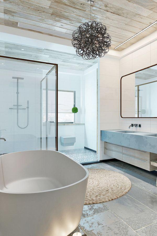 Une salle de bain moderne qui prône l'aspect naturel dans les matériaux.  #multiambiance #salledebain #tendancedeco #decorationinterieure #salledebainmoderne #decodesign #ambiance #decointerieure #tendancedeco #inspirationdeco #eclairage