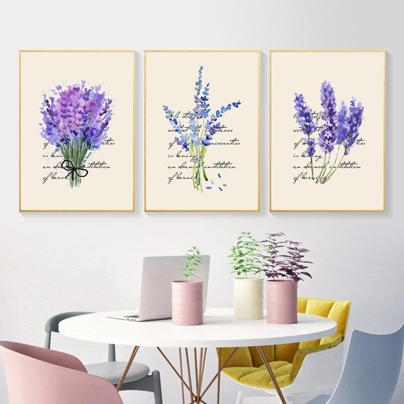Nordic Lavender Canvas Painting English Combina Decorative Modular Wall Art Picture For Living Room Home Decor Poster Hd2773 In 2020 Modular Wall Art Wall Art Canvas Painting Wall Art Pictures