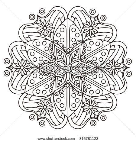 exquisite mandala pattern design in black and white | MANDALAS ...