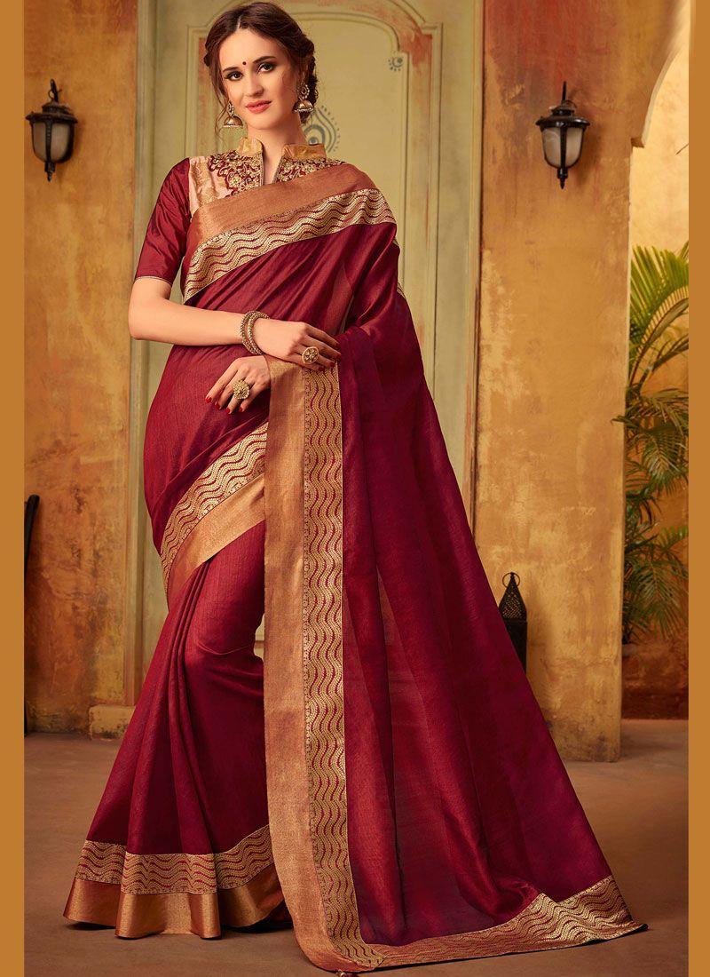 Cotton Silk Embroidered Maroon Classic Saree