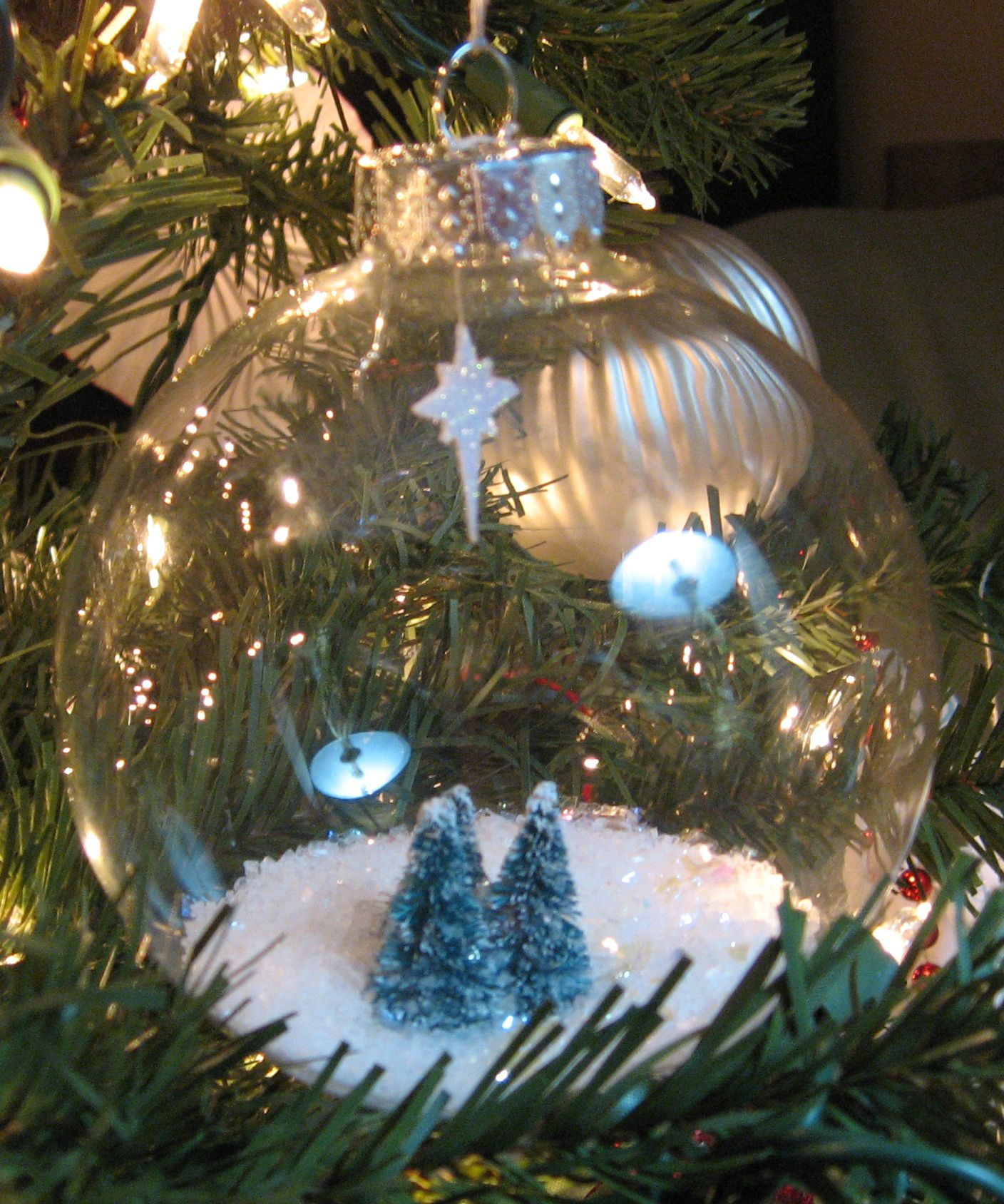 Clear Glass Ornament Filled With Epsom Salt And Glitter Nestled Around Mini Trees And A Paper Star Encr Clear Glass Ornaments Christmas Bulbs Christmas Crafts