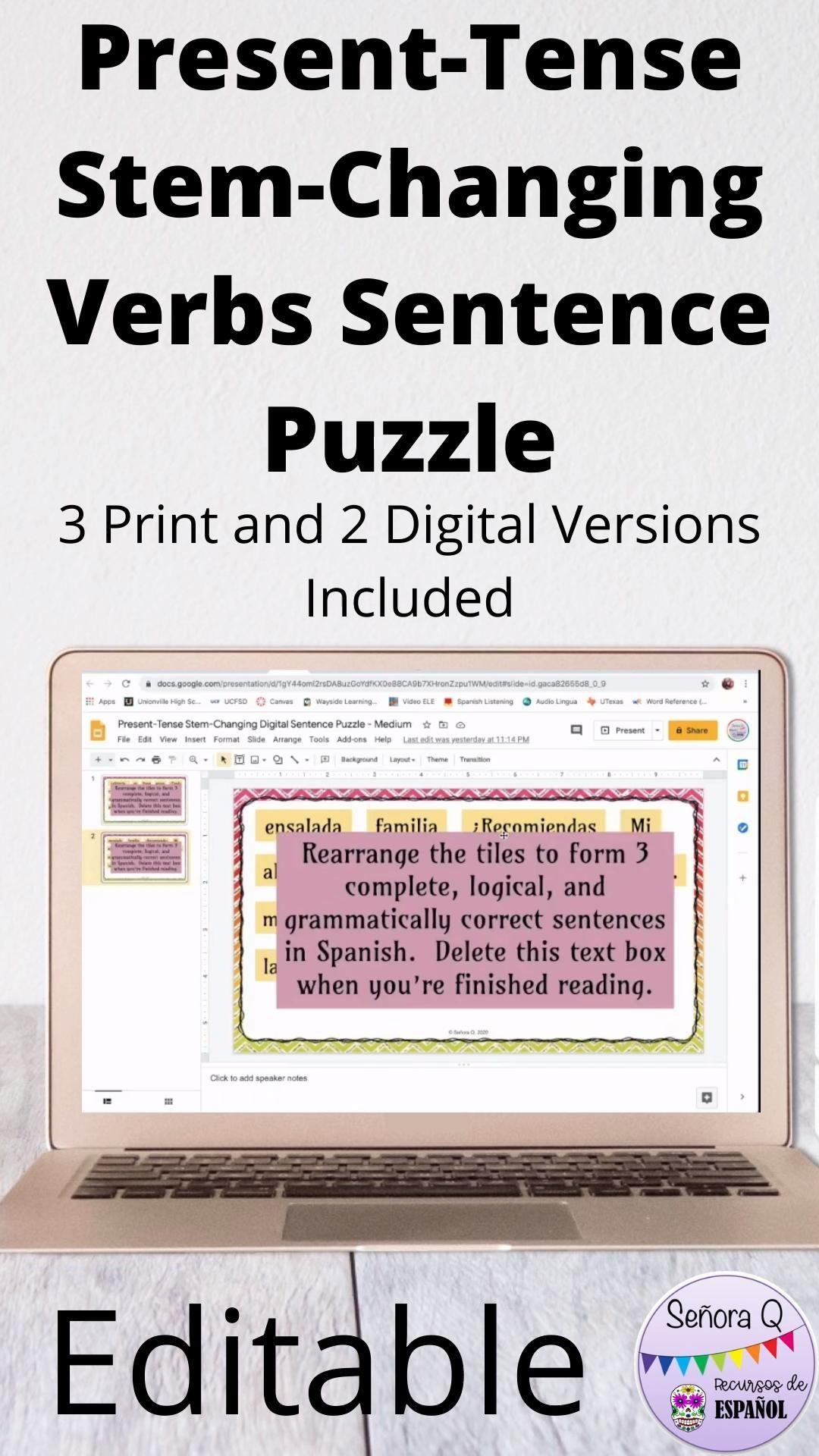 Spanish Stem Changing Verbs Scrambled Sentences Puzzle Video Spanish Teacher Resources Language Worksheets Sentences [ 1920 x 1080 Pixel ]