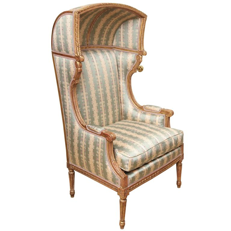 French Hooded Chair | French Louis XVI Style Porteru0027s Chair