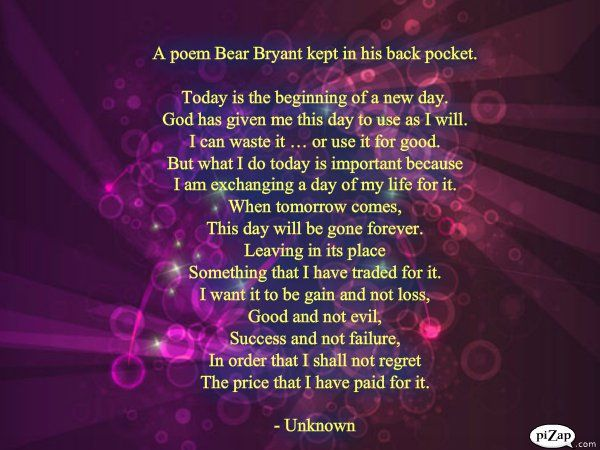 Poem Bear Bryant carried in his back pocket