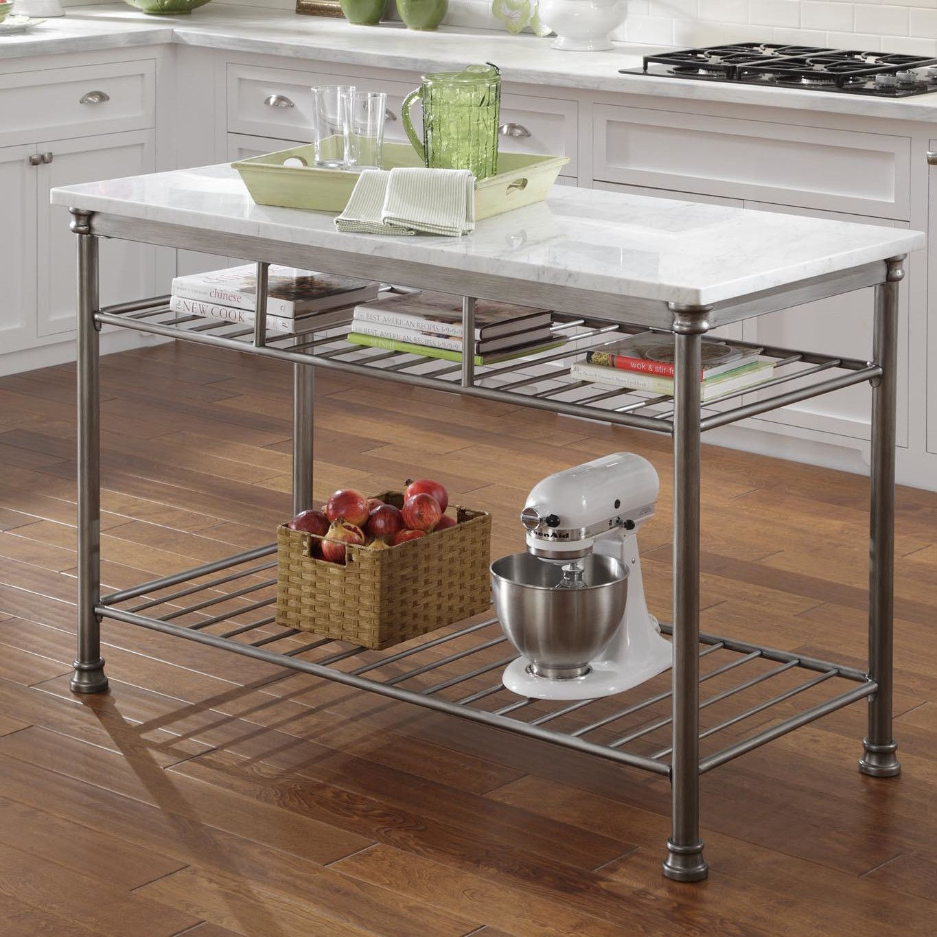 Home Styles Orleans Prep Table With Marble Top Kitchen Island Storage Freestanding Kitchen Island Freestanding Kitchen