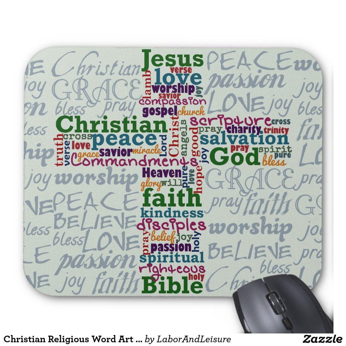 Alfombrilla De Raton Cruz De Arte De Palabra Religiosa Cristiana