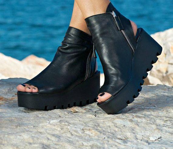 Genuine leather wedge platform sandals/extravagant red