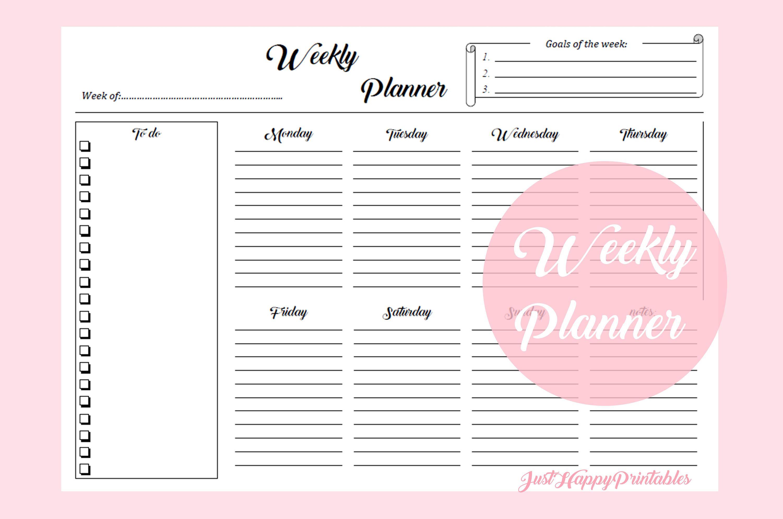 EDITABLE Printable Planner weekly planner digital planner