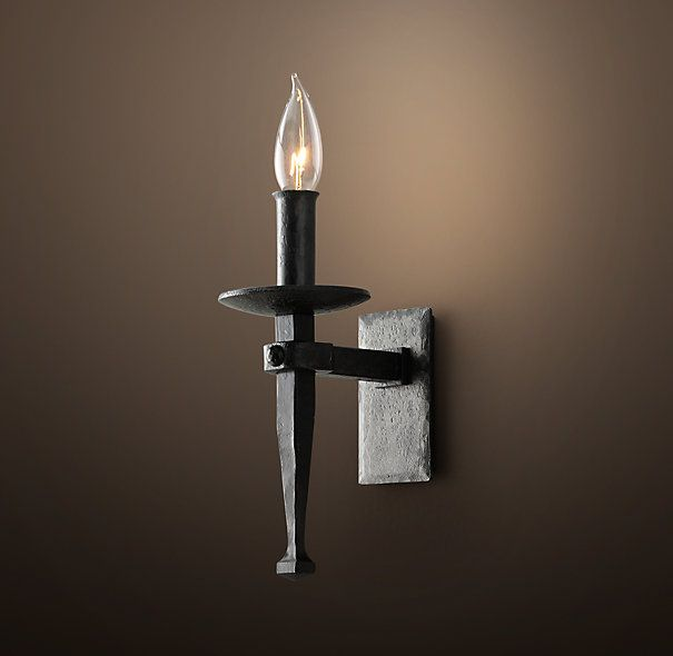 sconce comfort brand iron with in castle visual sku accents weathered brass torch