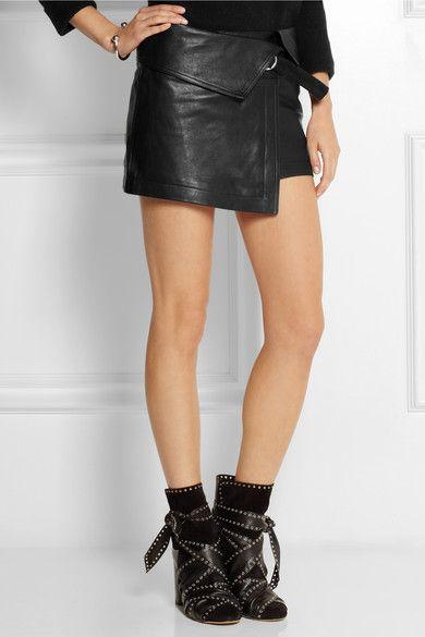 Isabel Marant hutt fold-over black leather mini skirt | Curatable ...