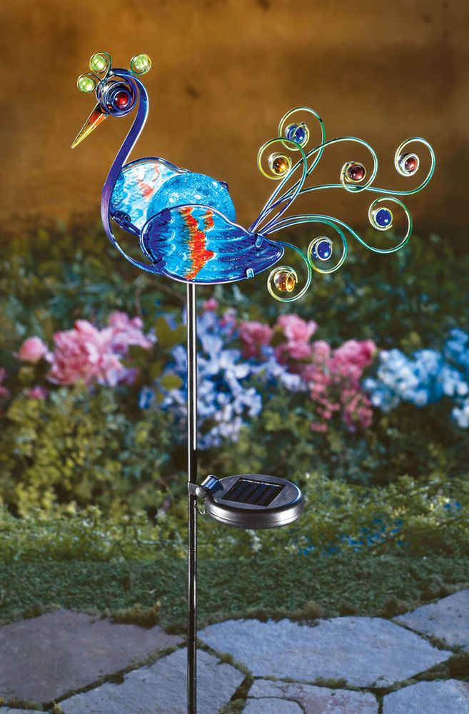 SOLAR GARDEN DECORATION PEACOCK STAKE OUTDOOR WALKWAY PATH LIGHTING HOME  DECOR