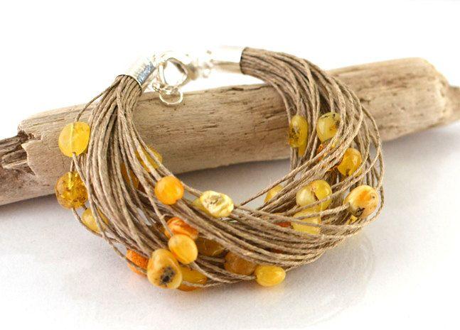 Yellow Baltic Amber bracelet, Natural Amber Jewelry Linen Yellow Gold Autumn Fall Fashion Jewelry #baltic