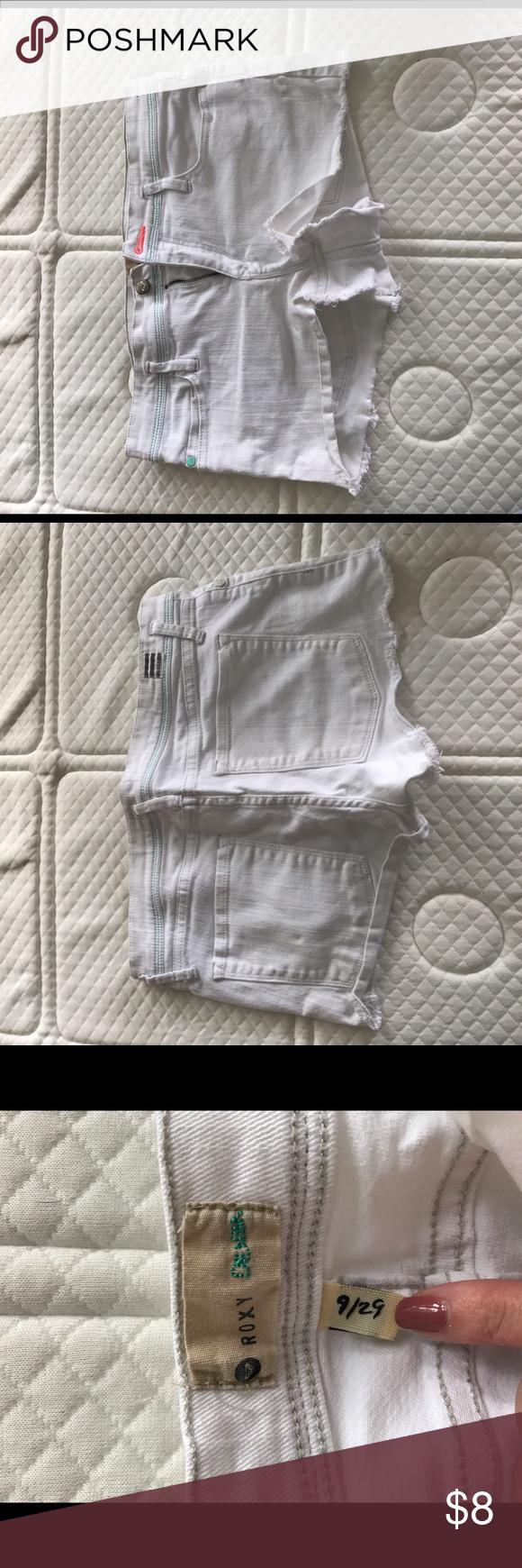 Roxy Shorts Gently used and still really bright white. Roxy Shorts Jean Shorts