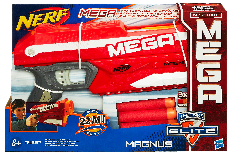 NERF N-Strike Elite Mega Magnus -ase 24,99 € (34,99 €. ) Aseessa on nopean latauksen mahdollistava sisäinen lipas. Kantama 22 metriä. Mukana kolme ammusta. Ikäsuositus 8–14 v. BR-lelut, 3. KRS