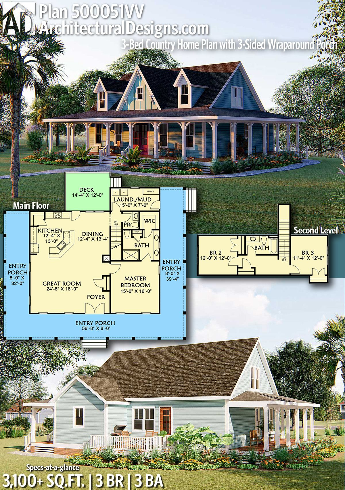 Plan 500051vv 3 Bed Country Home Plan With 3 Sided Wraparound Porch In 2021 House Blueprints Country House Plans House Plans Farmhouse