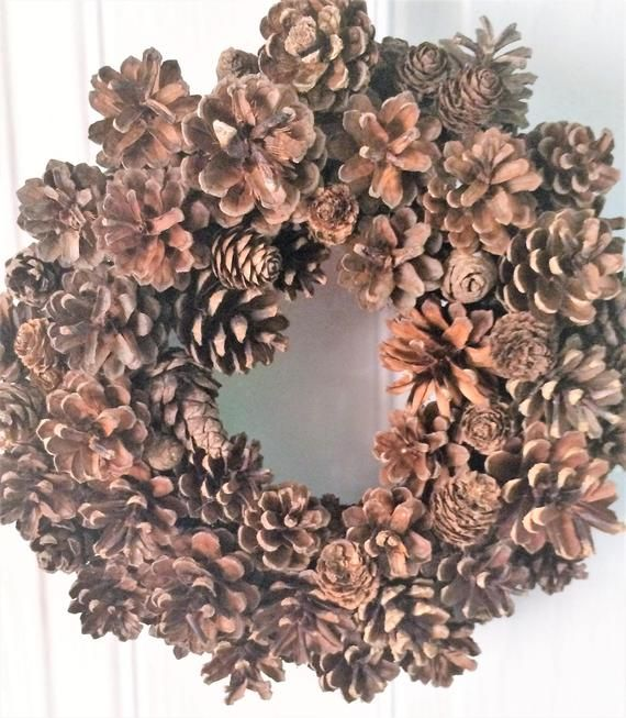 Natural Pine Cone Wreath #pineconeflowers