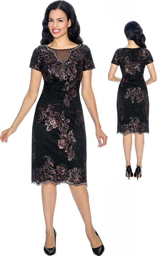 b8ee3b47f6c55a Annabelle 8668-Black Sleeveless Pencil Dress With Brocade Style Design