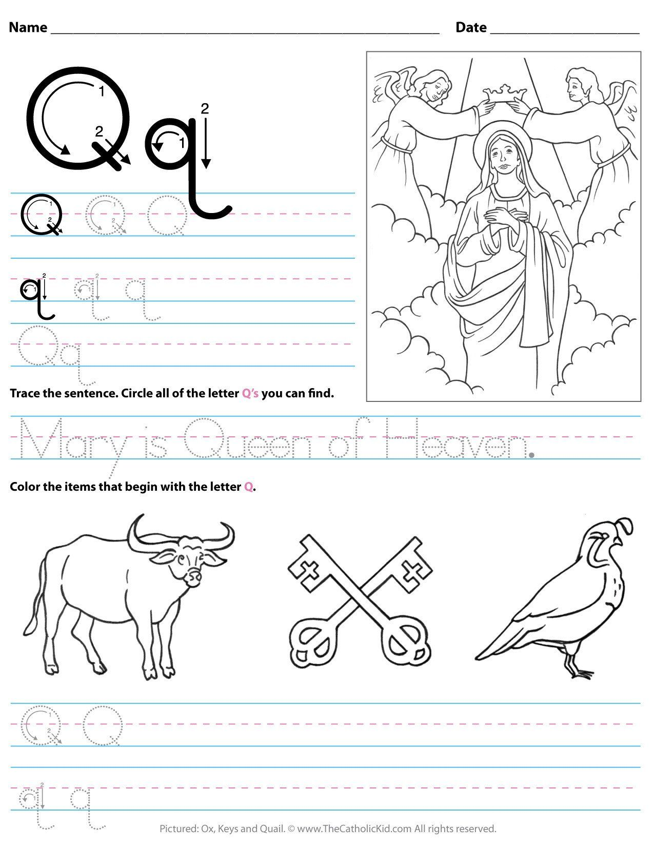 Q Worksheets For Kindergarten Catholic Alphabet Letter Q