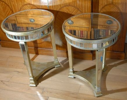 Round Top Mirrored Side Tables