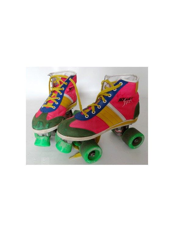 late 70s 80s FLUO rollers SKATE DISCO roller derby // size eu 38 - uk 5 - us 6.5 by louloufrenchvintage on Etsy https://www.etsy.com/listing/459621152/late-70s-80s-fluo-rollers-skate-disco