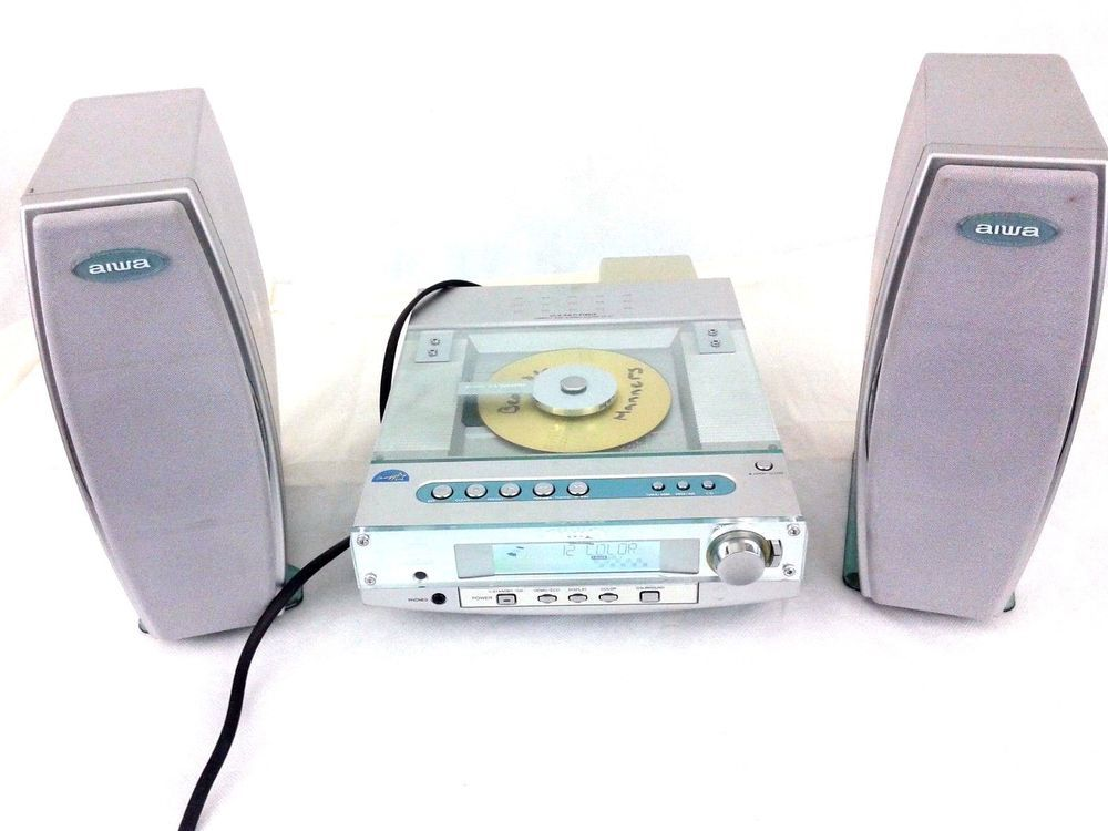 Aiwa CX LX7U Mini Bookshelf CD Stereo System Excellent Shape Works 2 Speakers