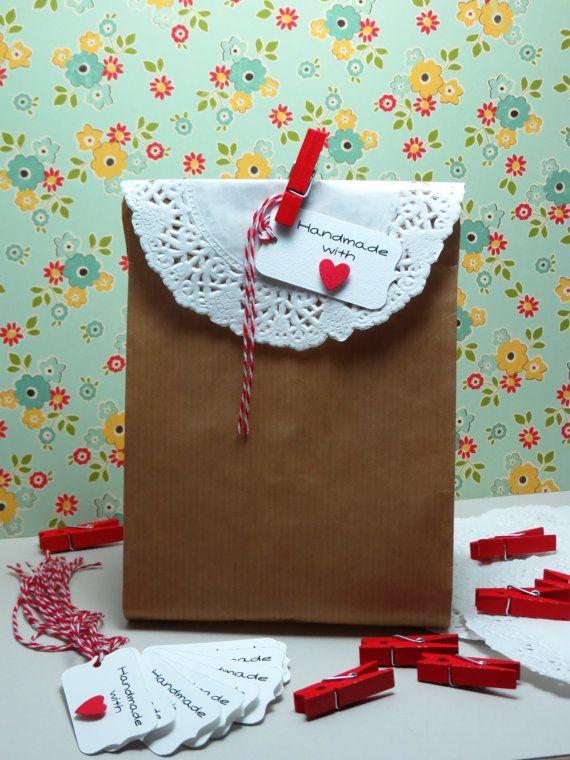 saldi acquista per genuino morbido e leggero Kit 10 sacchetti bustine carta kraft decorati di ...