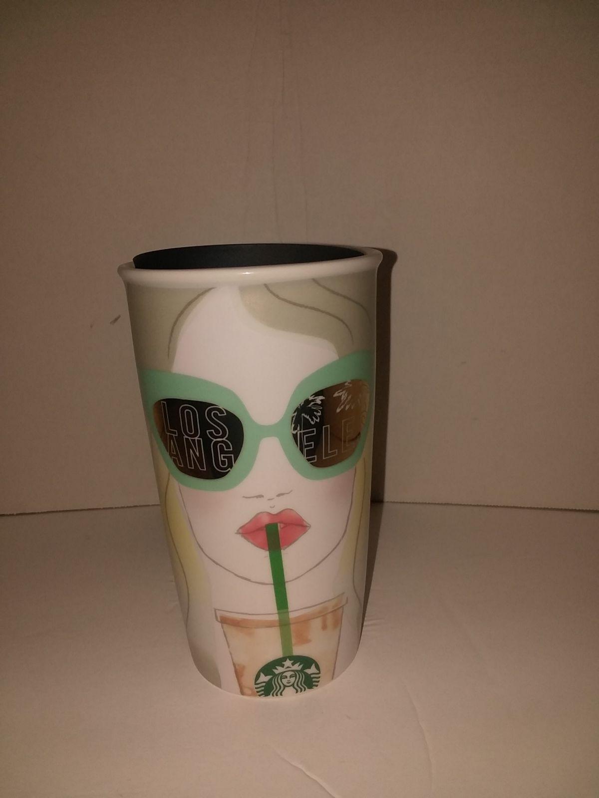 NEW 2016 Starbucks Los Angeles Double Wall Traveler Ceramic Tumbler 12oz