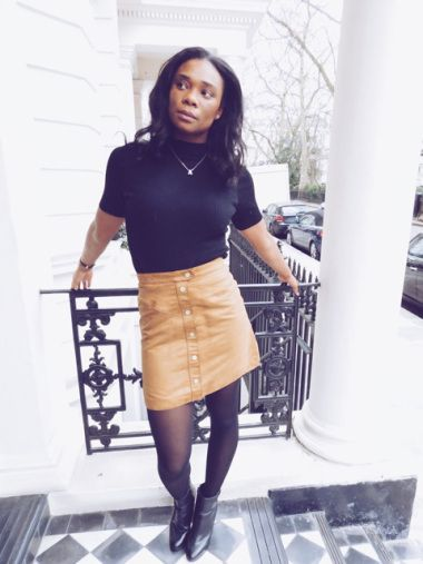 Tan Skirt Takedown - Click the link for the complete outfit details
