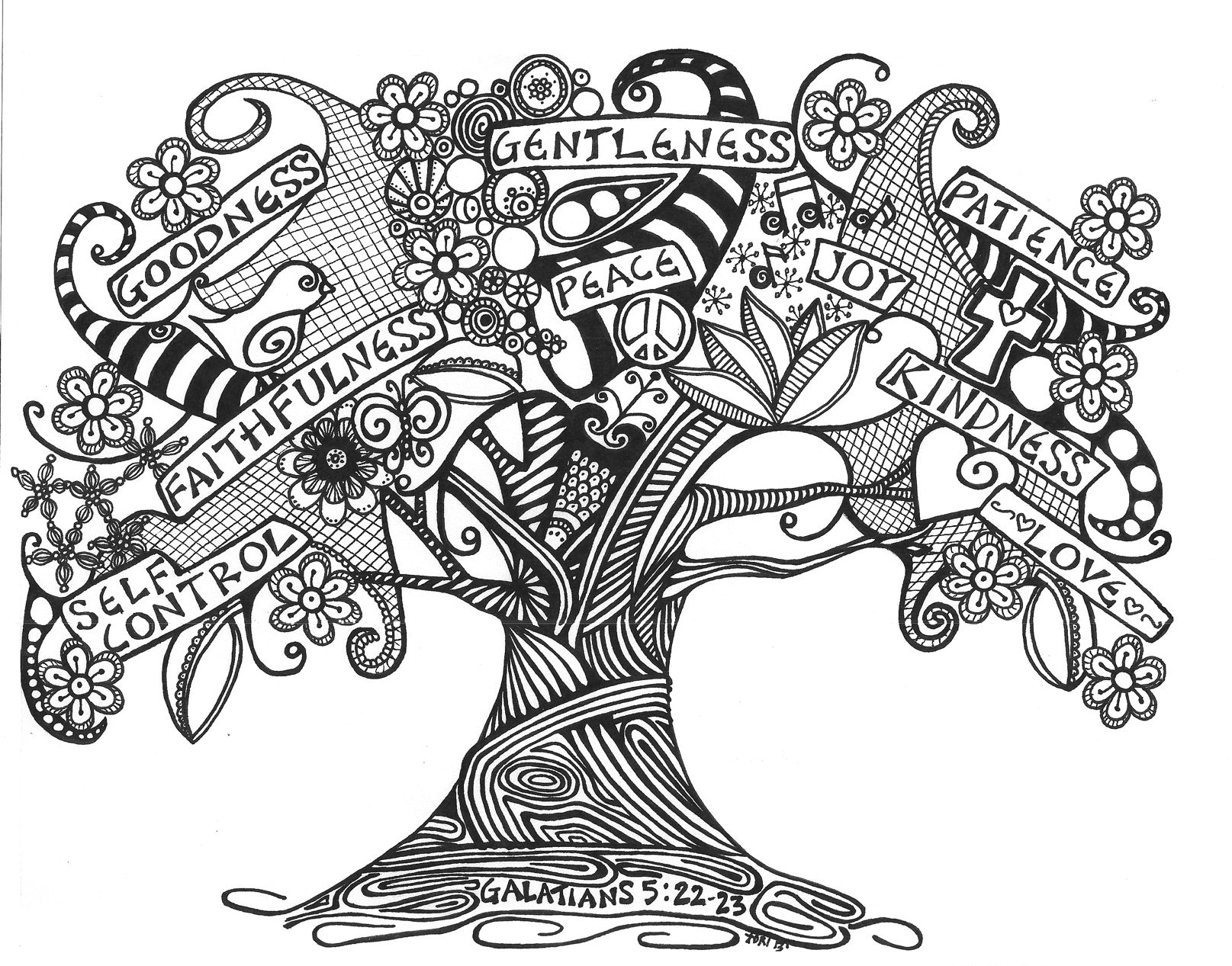 Black And White Zentangles Trees