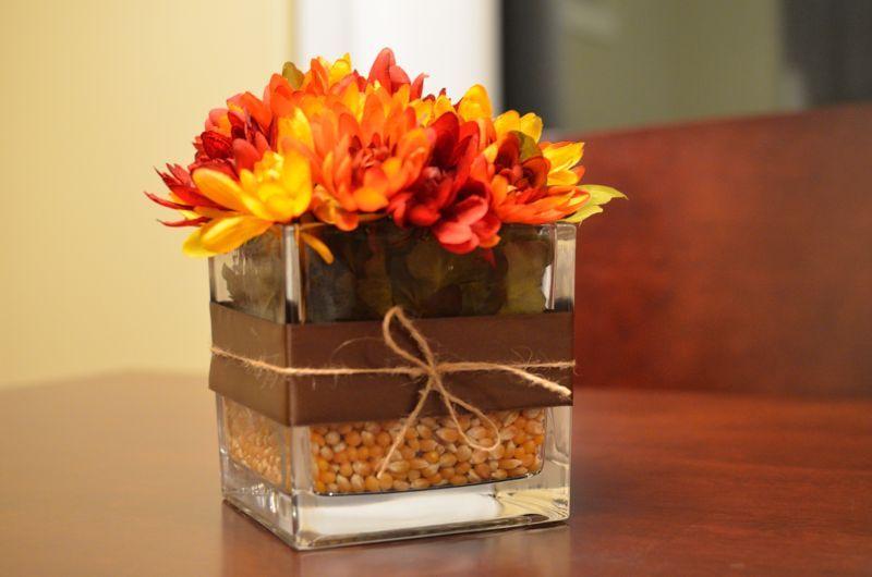 Easy fall flower arrangement cute stuff pinterest for Simple thanksgiving flower arrangements