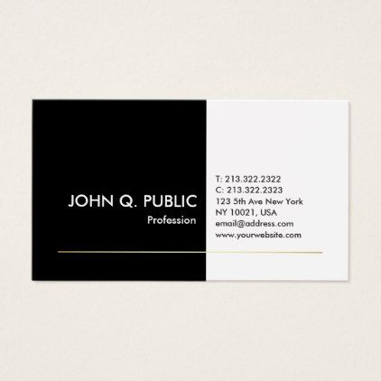 Professional black white gold elegant modern plain business card reheart Choice Image