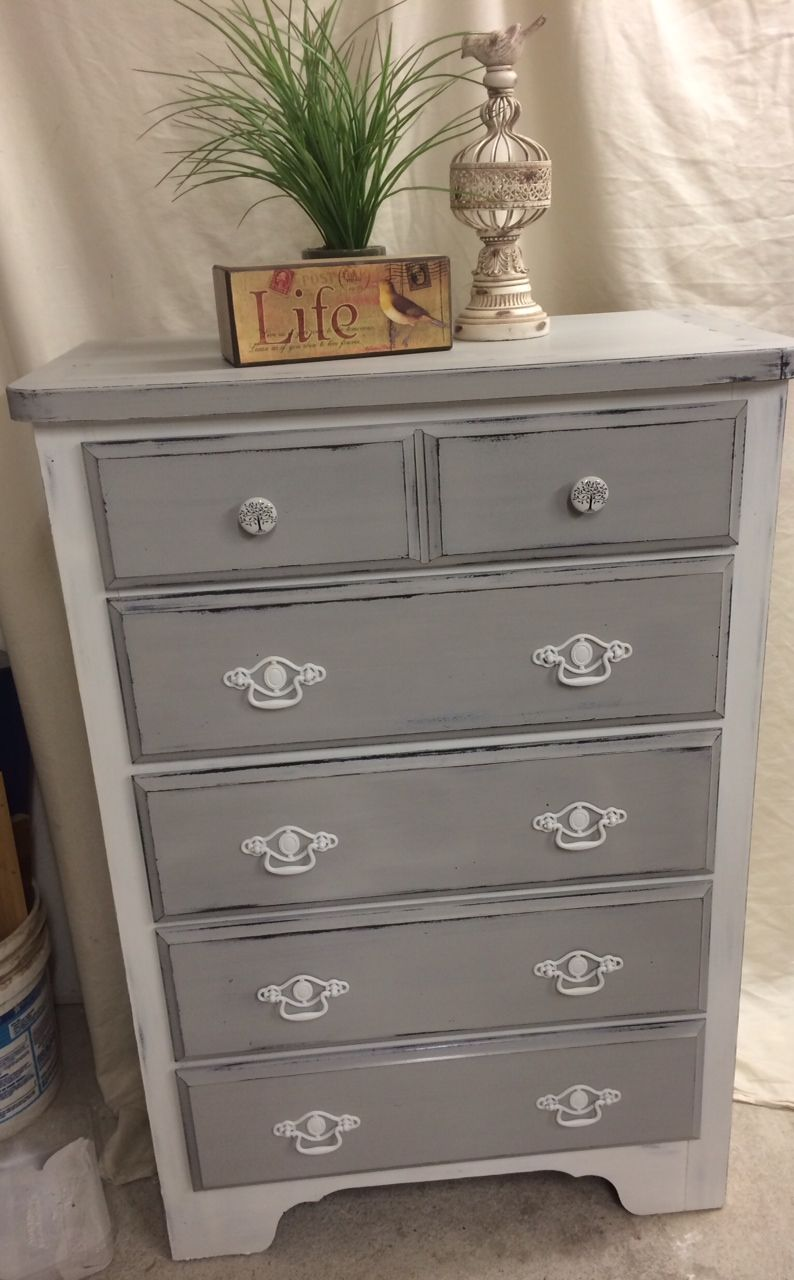 Painted grey dresser transformation paris grey pure for Ideas for painting a dresser
