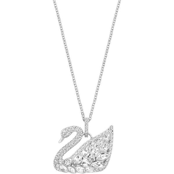 a40fc5252023 Swarovski Crystal Swan Pendant Necklace ( 125) ❤ liked on Polyvore  featuring jewelry