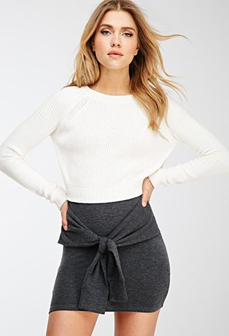 Cropped Purl Knit Sweater   Forever 21 - 2000082244